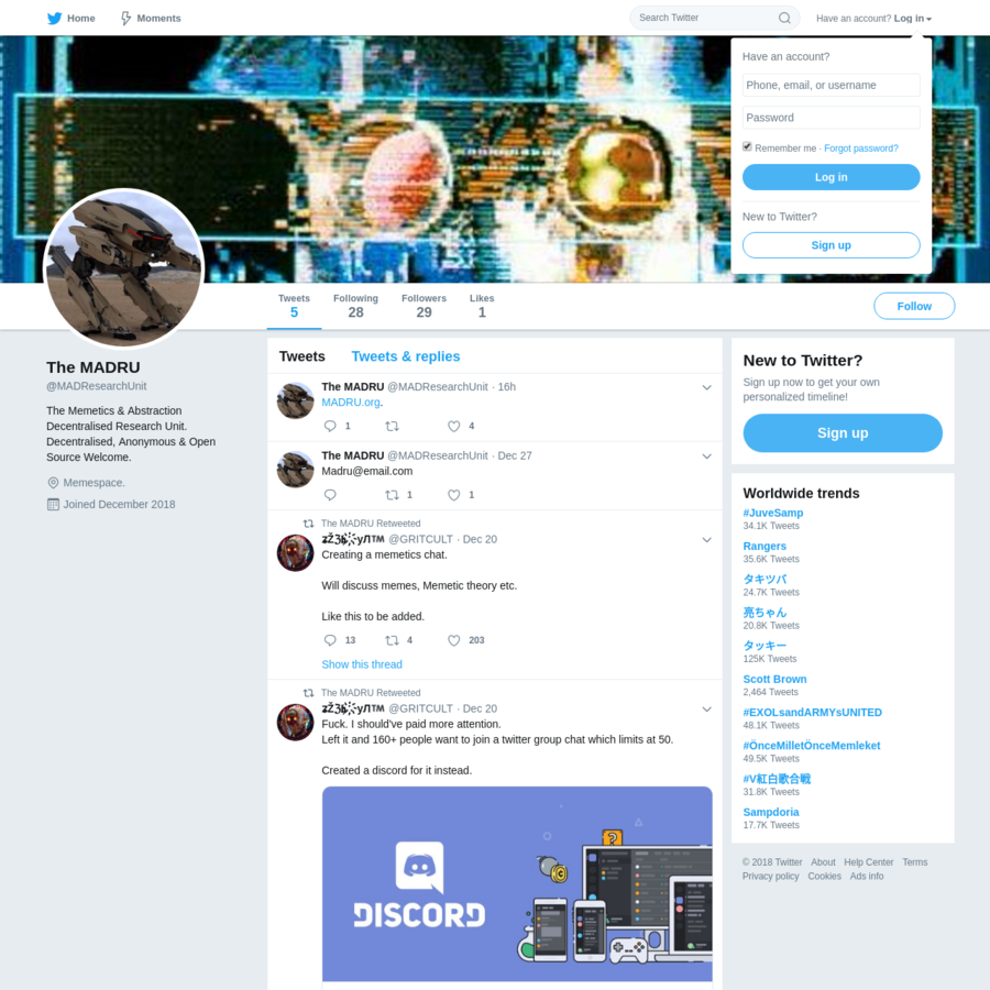 The latest Tweets from The MADRU (@MADResearchUnit). The Memetics & Abstraction Decentralised Research Unit. Decentralised, Anonymous & Open Source Welcome. Memespace.