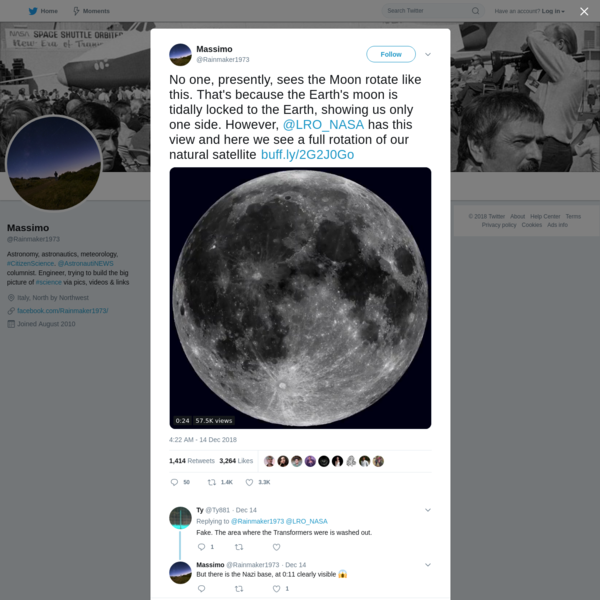 No one, presently, sees the Moon rotate like this. That's because the Earth's moon is tidally locked to the Earth, showing us only one side. However, @LRO_NASA has this view and here we see a full rotation of our natural satellite https://t.co/PV0oxJsy56 https://t.co/U5bcQMFVQc