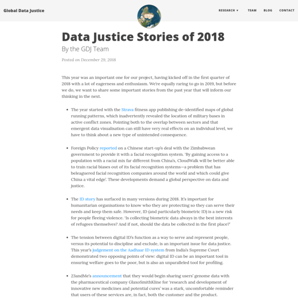 Data Justice Stories of 2018