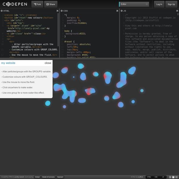 Javascript fluid simulation on canvas....