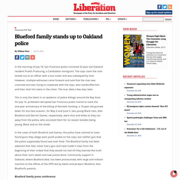 Blueford family stands up to Oakland police | Liberation News
