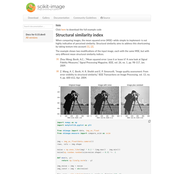 Structural similarity index - skimage v0.15.dev0 docs