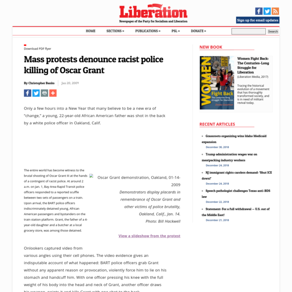 Mass protests denounce racist police killing of Oscar Grant |...