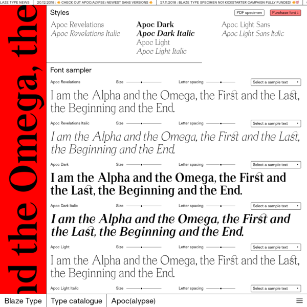 "Apoc, the battle between Light and Dark. ""As I stood upon the sand of the sea..."" Apoc is a typeface family revolving around 8 fonts: Apoc Revelations & Italic Apoc Light & Italic Apoc Dark & Dark Italic The design process started with the finding of a lettrage made for a book cover about the book of Revelations."