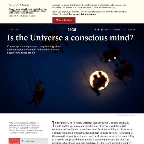 Cosmopsychism explains why the Universe is fine-tuned for life - Philip Goff | Aeon Essays
