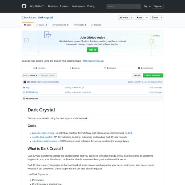 blockades/dark-crystal: Back up your secrets using the trust in your social network