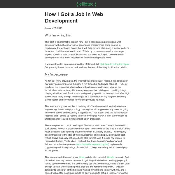 How I Got a Job in Web Development