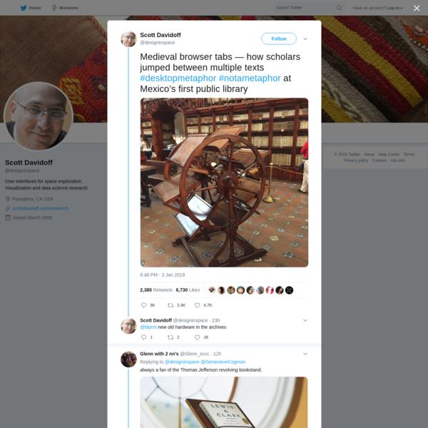 "Scott Davidoff on Twitter: ""Medieval browser tabs — how scholars jumped between multiple texts #desktopmetaphor #notametaphor at Mexico's first public library https://t.co/eTTsDpFhuV"" / Twitter"