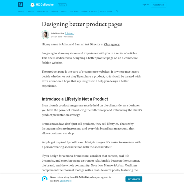 Designing better product pages - UX Collective