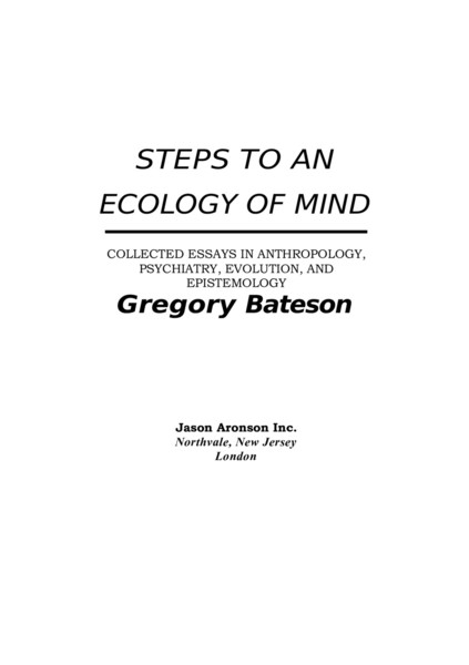 Steps to an Ecology of Mind by Gregory Bateson