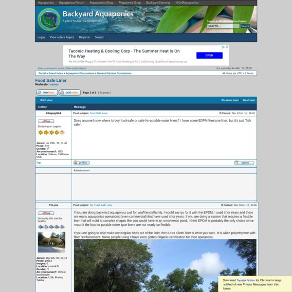 Backyard Aquaponics * View topic - Food Safe Liner