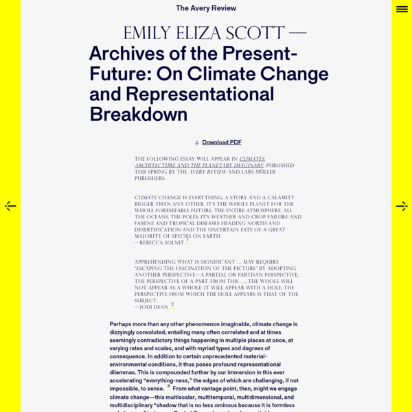 The Avery Review | Archives of the Present-Future: On Climate Change and Representational Breakdown