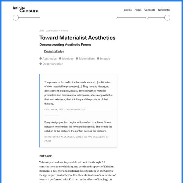 Toward Materialist Aesthetics — Infinite Caesura