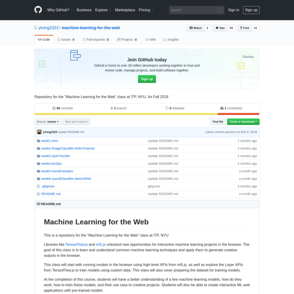 """Repository for the """"Machine Learning for the Web"""" class at ITP, NYU, for Fall 2018 - yining1023/machine-learning-for-the-web"""