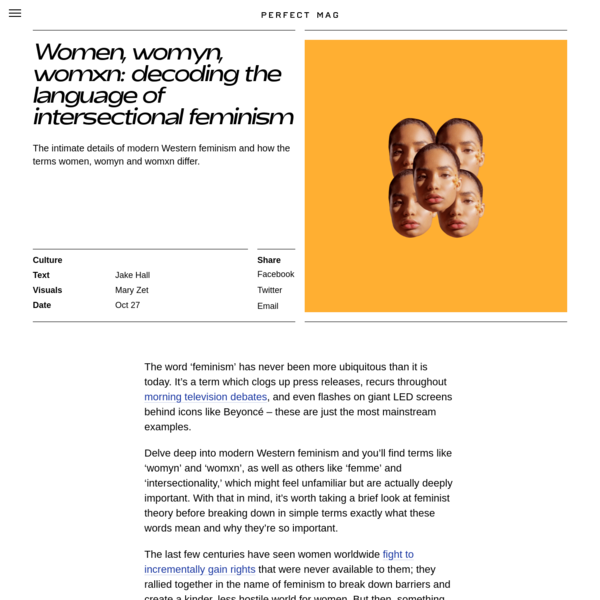An explanation of the terms women, womyn and womxn