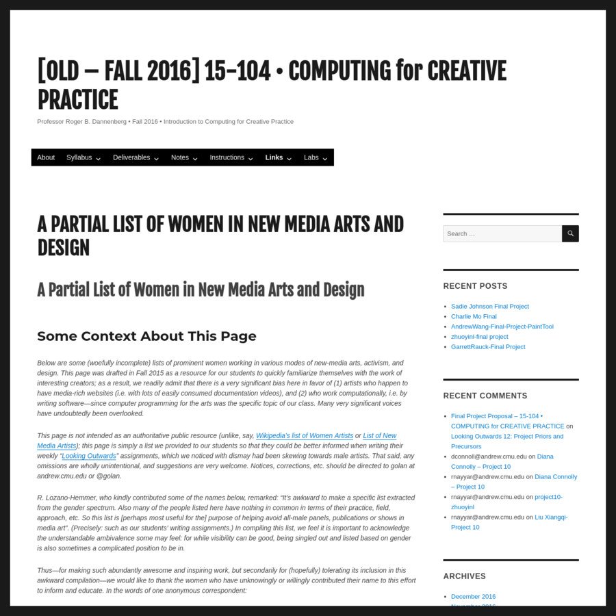 Below are some (woefully incomplete) lists of prominent women working in various modes of new-media arts, activism, and design. This page was drafted in Fall 2015 as a resource for our students to quickly familiarize themselves with the work of interesting creators; as a result, we readily admit that there is a very significant bias here in favor of (1) artists who happen to have media-rich websites (i.e.