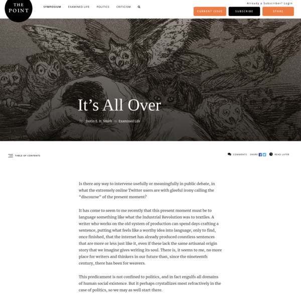 It's All Over | The Point Magazine