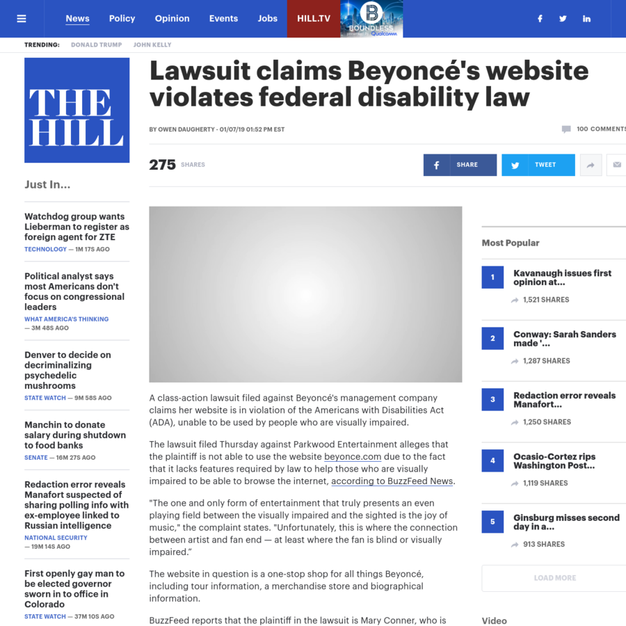 A class-action lawsuit filed against Beyoncé's managementcompany claims her website is in violation of the Americans with Disabilities Act (ADA), unable to be used by people who are visually impaired.