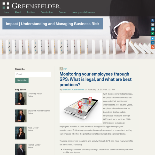 Monitoring your employees through GPS: What is legal, and what are best practices?: Impact | Understanding and Managing Busi...