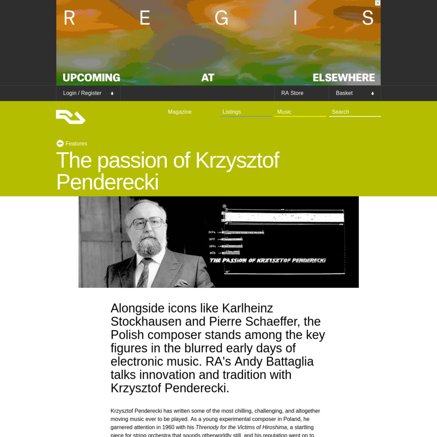 Alongside icons like Karlheinz Stockhausen and Pierre Schaeffer, the Polish composer stands among the key figures in the blurred early days of electronic music. RA's Andy Battaglia talks innovation and tradition with Krzysztof Penderecki. Krzysztof Penderecki has written some of the most chilling, challenging, and altogether moving music ever to be played.