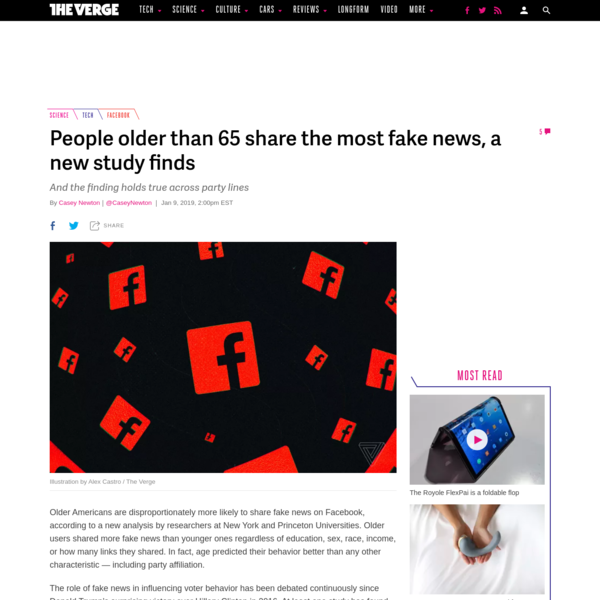 People older than 65 share the most fake news, a new study finds