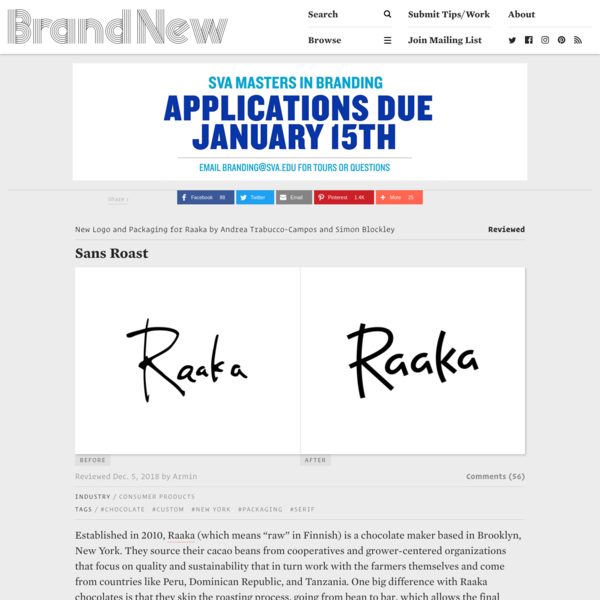 """Established in 2010, Raaka (which means """"raw"""" in Finnish) is a chocolate maker based in Brooklyn, New York. They source their cacao beans from cooperatives and grower-centered organizations that focus on quality and sustainability that in turn work with the farmers themselves and come from countries like Peru, Dominican Republic, and Tanzania."""