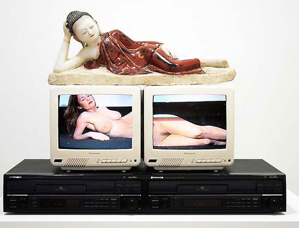 Nam June Paik, Reclining Buddha, 1994