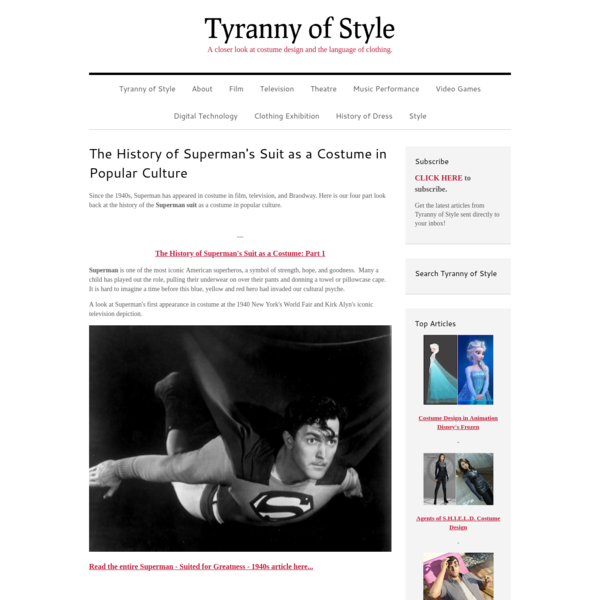 The History of Superman's Suit as a Costume in Popular Culture - Tyranny of Style