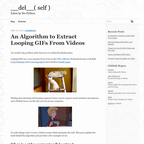 Looping GIFs are a very popular form of art on the Web, with two dedicated forums on Reddit ( r/perfectloops and r/cinemagraphs) and countless Tumblr pages. Finding and extracting well-looping segments from a movie requires much attention and patience, and will likely leave you like this in front of your computer: To make things easier I wrote a Python script which automates the task.