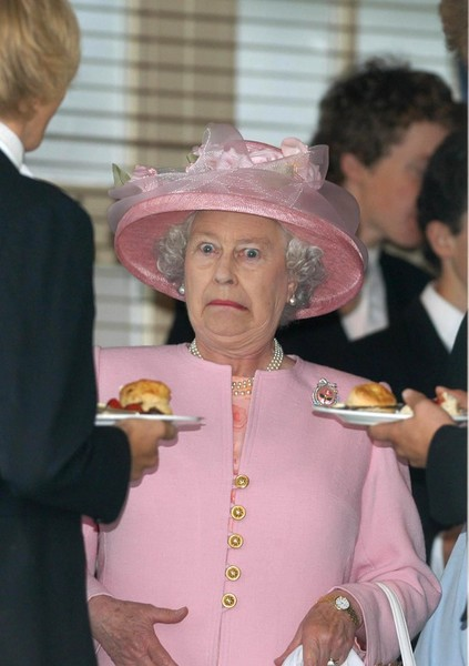 Mark Stewart - The Queen is taken by surprise as she takes tea with Eton schoolboys at Guards Polo Club (2003)