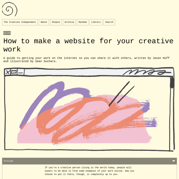A guide to getting your work on the internet so you can share it with others, written by Jason Huff and illustrated by Sean Suchara.