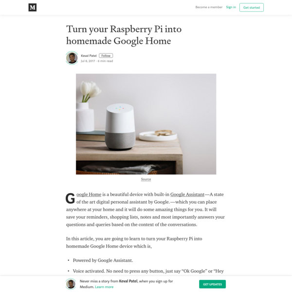 Turn your Raspberry Pi into homemade Google Home - Keval Patel - Medium