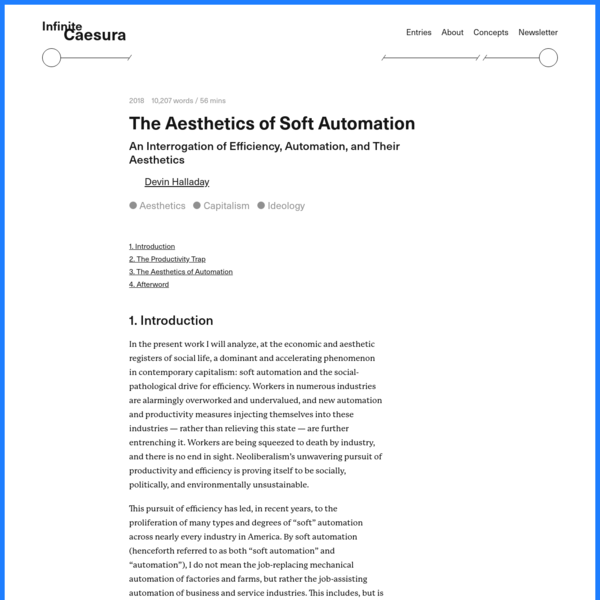 The Aesthetics of Soft Automation - Infinite Caesura