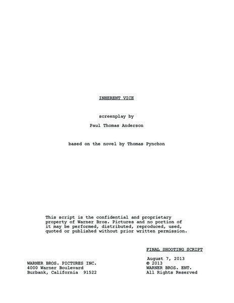 Inherent Vice Script Pdf