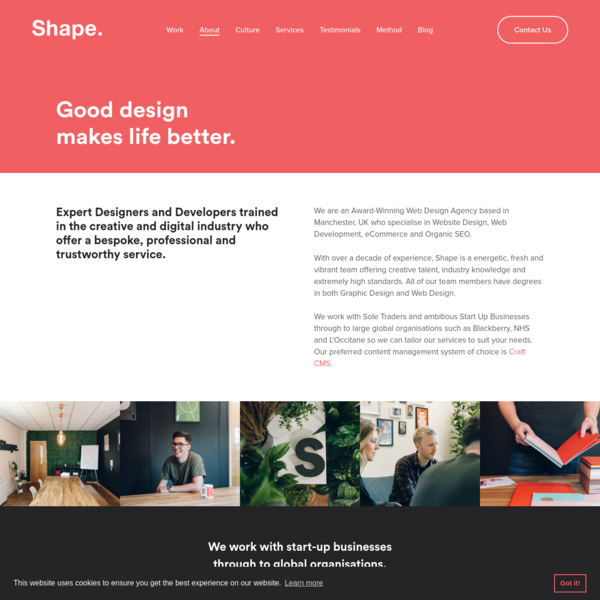 Shape are a full service Creative and Digital Design Studio based in Manchester with an outstanding reputation for quality.