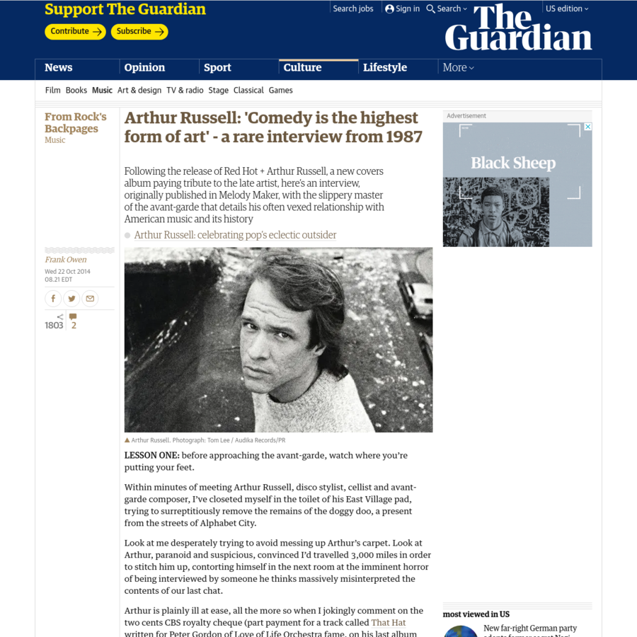 Following the release of Red Hot + Arthur Russell, a new covers album paying tribute to the late artist, here's an interview, originally published in Melody Maker, with the slippery master of the avant-garde that details his relationship with American music and its history
