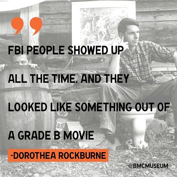 """""""FBI people showed up all the time, and they looked like something out of a grade B movie [...] They always had trench coats on, and you could spot them a mile away [...] And of course the students at Black Mountain put on an act for them. One of the favorite student tricks was to not have shoes on in the middle of the winter, and to crunch out a cigarette butt with their bare feet … It confirmed their worst opinions, and we did not answer any of their questions."""" -Dorothea Rockburne (Interview with Connie Bostic, 2002.) ... This spring, the fascinating story of BMC's FBI investigation is coming out of the shadows (along with other pivotal moments in political history, including WWII, The Great Depression, and Jim Crow) The Politics of Black Mountain College, curated by Connie Bostic, Jon Ellison, Jay Miller and Alice Sebrell opens February 1st. ... Image: Dan Rice and Robert Creeley at Black Mountain College photographed by Jonathan Williams. ... #history #archives #fbi #blackmountaincollege #bmc #dorothearockburne"""