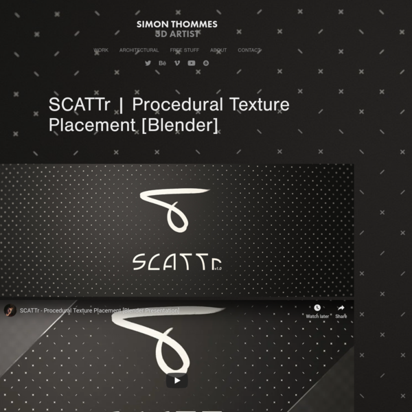 Simon Thommes | Portfolio - SCATTr | Procedural Texture Placement [Blender]