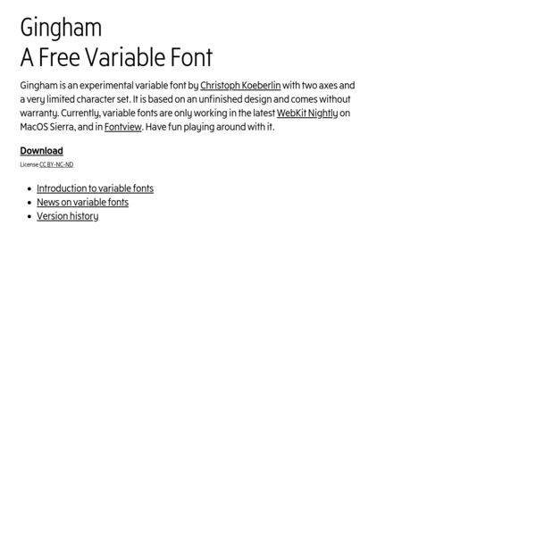 Gingham - A Free Variable Font