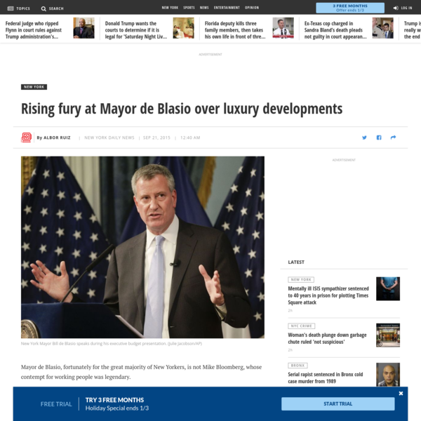Rising fury at Mayor de Blasio over luxury developments - NY Daily News