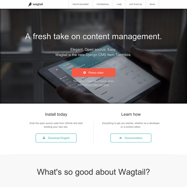 Wagtail CMS - elegant, easy, open source content management