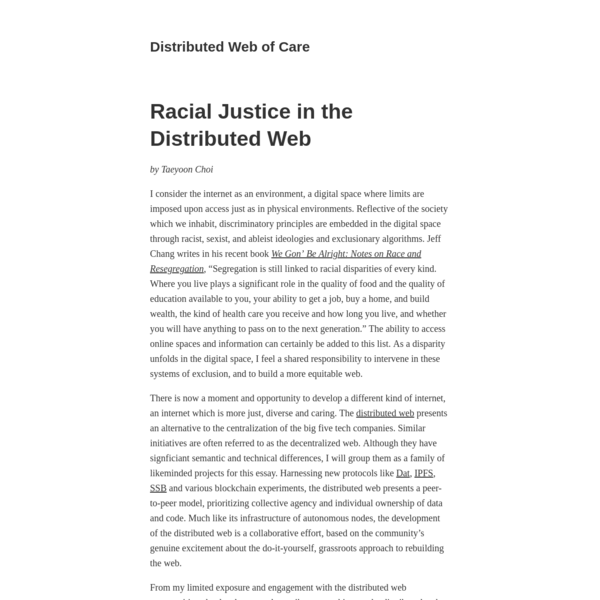 Racial Justice in the Distributed Web