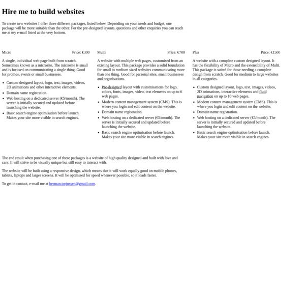 Websites - Herman Torjussen