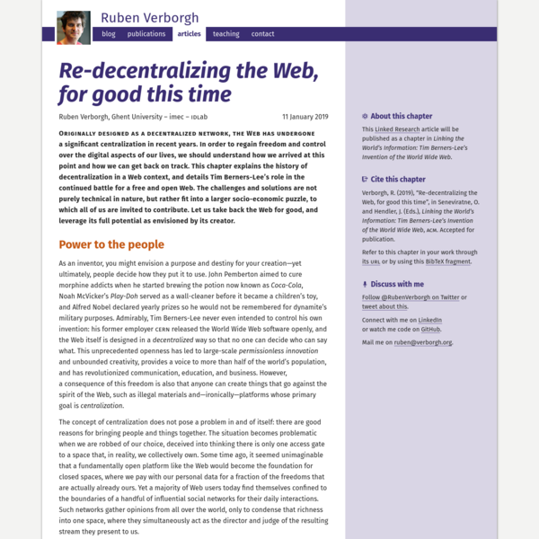 Re-decentralizing the Web, for good this time | Ruben Verborgh