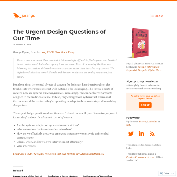 The Urgent Design Questions of Our Time