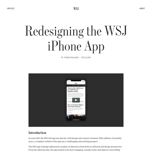 A behind-the-scenes look at design at The Wall Street Journal. Follow along as we continue to improve and innovate on our existing products, launch new ones and help shape the future of how people consume news.