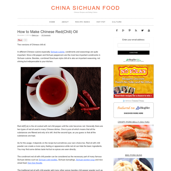 Two versions of Chinese chili oil. In different Chinese cuisine especially Sichuan cuisine, condiments and seasonings are quite important. Since chili pepper and Sichuan peppercorn are the most two important condiments in Sichuan cuisine. Besides, combined Szechuan style chili oil is also an important seasoning, not shining but indispensable to your kitchen.