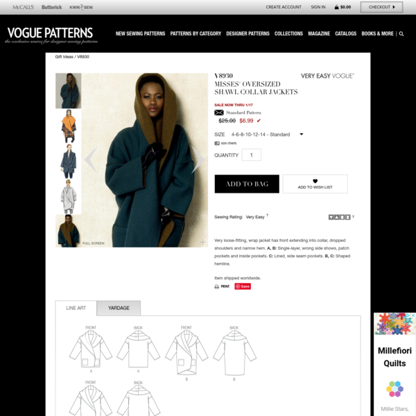 V8930 | Misses' Oversized Shawl Collar Jackets Sewing Pattern | Vogue Patterns