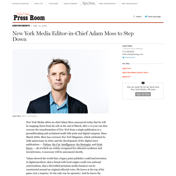 New York Media Editor-in-Chief Adam Moss to Step Down