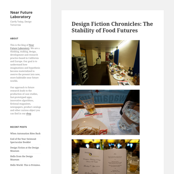 Design Fiction Chronicles: The Stability of Food Futures